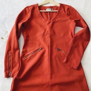 Athlete Burnt Orange Zipper Accented Dress